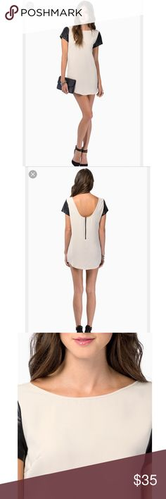 Tobi two tone low back dress Gorgeous two tone zipper back dress with faux leather sleeves. Only worn out once, good condition. No trades Tobi Dresses Mini