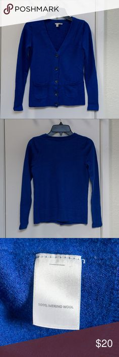 Halogen 100% Merino Wool  V-Neck Cardigan Stunning royal blue, button-closure. Pockets update a soft, everyday sweater detailed with ribbing at the placket, cuffs and hem.  This comes from a smoke-free, pet-free home. Halogen Sweaters Cardigans