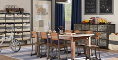 I've been checking out the latest offerings from Restoration Hardware 's baby & child line: { schoolhouse play table } I've always had a s. School Tables, School Chairs, Industrial Chic, Vintage Industrial, Industrial Interiors, Industrial Industry, Vintage Interiors, Industrial Farmhouse, Industrial Design
