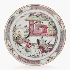 A famille rose dish, Qianlong period (1736-1795). 8 ½ in (21.6 cm) diameter. Estimate $1,000-$1,500. This work is offered in Collected in America Chinese Ceramics from The Metropolitan Museum of Art online auction, 13-22 September