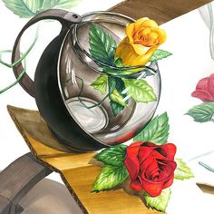 컨디션 아닌 견디셔~ #기초디자인 #화면구성 #개체 #개체표현 #composition #flower #rose #박스 #design #drawing #dessin #sketch #질감표현 #box