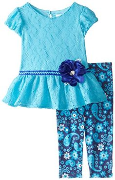 Youngland Baby Girls' Crochet Knit Dress and Floral Legging Set: Baby playwear legging set, short sleeve all-over crochet drop waist dress, ribbon waistband with flower detail, with matching floral print legging Newborn Girl Outfits, Kids Outfits Girls, Toddler Outfits, Girls Dresses, Baby Girl Shirts, Baby Girls, Fall Baby Clothes, Kids Dress Patterns, Baby Frocks Designs
