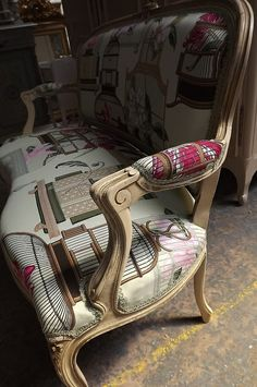 bird cage folie fabric / old French sofa / reupholstered / Frenchfinds.co.uk