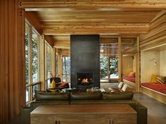 Cozy cabin in Lake Wenatchee designed by DeForest Architects.