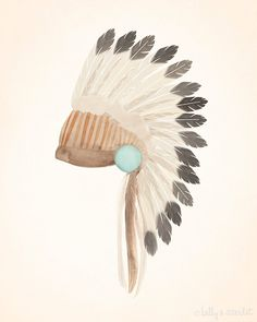"Indian Headdress Art Print, 8""x10"" Bohemian Tribal Artwork, Perfect illustration for the home, baby boy nursery or boys room"