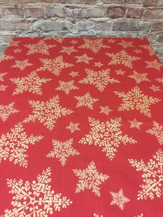 Red Christmas tablecloth with gold stars, gold snowflakes, Christmas tablecloth,Christmas gift, Scandinavian design by SiKriDream on Etsy