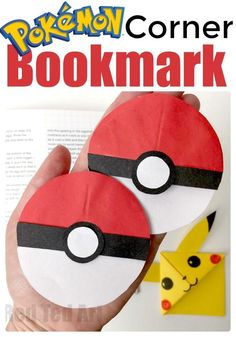 Pokemon Corner Bookmark - for Pokemon Go fans - have a break from all that walking.. and have a good read! Save your space with your very one Pokeball Bookmark Corners. Lovely.