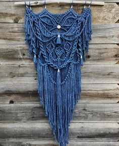 Blue faded denim (indigo) dyed cotton string (w/ silver string wraps) macrame on beautiful grey driftwood found on the Pacific coast. Macrame Design, Macrame Art, Macrame Projects, Macrame Knots, Macrame Jewelry, Macrame Wall Hanger, Yarn Wall Hanging, Wall Hangings, Micro Macramé