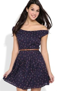 Deb Shops Off the Shoulder Dress with Ditsy Floral Print and Belted Waist $31.50