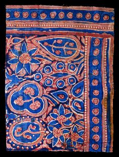 Fiber and Textile, Block-printed cotton textile, tabby Gujarat, India; 14th century, 59.5 × 44 (narrative from website)