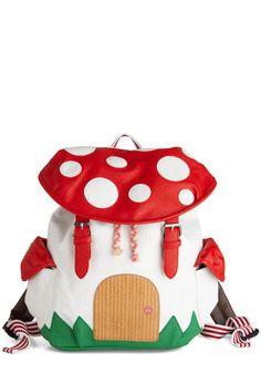 toadstool fairy house knapsack