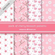 Various decorative patterns of cherry blossoms Free Vector Free Scrapbook Paper, Scrapbook Journal, Digital Paper Free, Digital Papers, Paper Clip Art, Printable Designs, Bullet Journal Inspiration, Printable Paper, Pattern Paper