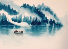 monochromatic watercolor landscape - Google Search