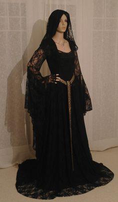 Black lace Elven dress, scottish widow hood, girdle belt, Renaissance dress, medieval dress, handfasting dress, wedding dress, custom made by camelotcostumes - Steampunk Steampunk Clothing - Smoked Glass Goggles