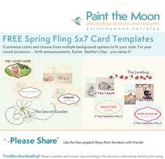 FREE Spring Fling 5x7 card template set from Paint the Moon! https://www.facebook.com/paintthemoonphotography