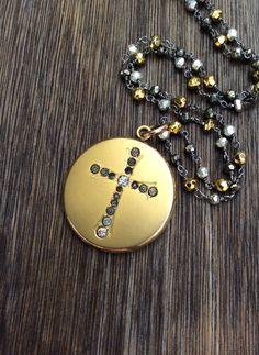 Antique Victorian W & H Co. Cross  Locket, Pyrite Gemstone Chain by AudreySparrow on Etsy https://www.etsy.com/listing/207321921/antique-victorian-w-h-co-cross-locket