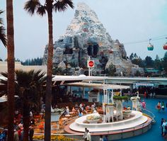 Disneyland's Coca Cola Terrace in Tomorrowland in 1969 with the Matterhorn & Skyway beyond