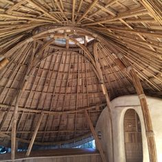 Our Sala with the bamboo arches and a half open bamboo/clay wall bathroom #chiangmailifeconstruction #bamboo #sala