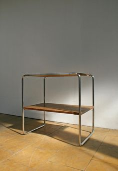 Bauhaus Chair, Bauhaus Furniture, Steel Furniture, Marcel Breuer, Bauhaus Interior, Retro Side Table, Console, Vintage Furniture Design, Wooden Shelves