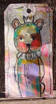 Circus Bear- An Original Mixed Media Painted tag by Amber Button