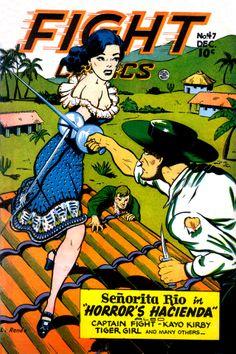 Fight Comics 47 Cover - so reminiscent of Catherine Zeta Jones in the Mask of Zorro! Old Comic Books, Vintage Comic Books, Vintage Comics, Comic Book Covers, Sci Fi Comics, Old Comics, Comic Book Heroines, Comic Book Characters, Tarzan