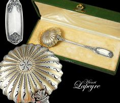 Boxed French Sterling Silver Sugar Sifter Spoon