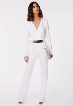 d14a51eaa68 Deliana Long Sleeved Wrap Wide Leg Jumpsuit White - Click for product  details  ) White
