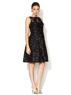 Theia Ribbon Embroidered Veiled Sequin Dress