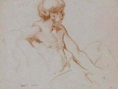 SIR FRANK BRANGWYN RA RWS PRBA (1867-1956) Profile of a Seated Male Nude (England, c.1910)