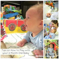 Ideas for How to Play with a 2 Month Old Baby from Amanda at The Educators' Spin On It