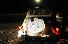 Tara Guerard Soiree wedding by Liz Banfield Vintage Wedding getaway car