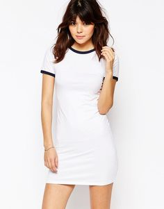 ASOS+Contrast+Tipping+Bodycon+T-shirt+Dress