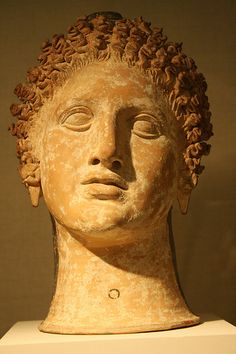 An Apulian Plastic Lekythos in the Form of a Woman's Head Terracotta, Late Classical, ca. Famous Greek Sculpture, Ancient Greek Sculpture, Terracota, Magna Graecia, Collections D'objets, Statues, Roman Sculpture, Roman History, Greek Art
