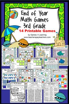 End of Year Math Games Third Grade by Games 4 Learning - This collection of end of year games contains 14 printable games that review a variety of third grade skills. These games are ideal as end of year games. $