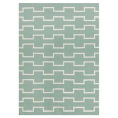 Handmade wool and cotton flatweave rug with a geometric motif.  Product: RugConstruction Material: Wool and cottonColor: Seafoam and creamFeatures:  Hand-woven constructionGeometric design  Note: Please be aware that actual colors may vary from those shown on your screen. Accent rugs may also not show the entire pattern that the corresponding area rugs have.Cleaning and Care: Professional cleaning recommended