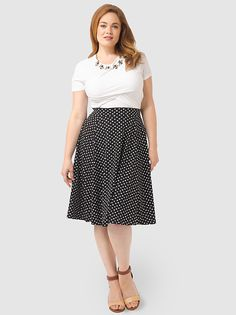 Matte Jersey Skirt In Black Polka Dots by Lands' End,Available in sizes M/L,0X/1X/2X and 3X