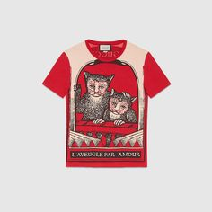 Washed t-shirt with monkeys print