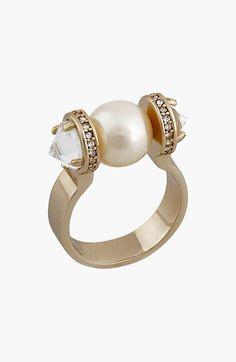 Women's Rebecca Minkoff Faux Pearl & Crystal Ring