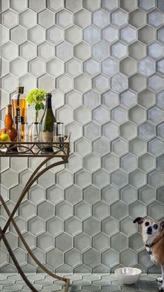 "Oceanside Glasstile - Casa California Collection - 4"" Flat Hexagon and 4"" Framework Hexagon in the colors Infinite Irid and Matte"