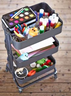 8 Clever Ways To Use IKEA Raskog Cart For Narrow Space space raskog narrow clever Raskog Ikea, Office Supply Organization, Craft Organization, Raskog Utility Cart, Office Deco, Ikea Cart, Art Cart, Kidsroom, Diy For Kids