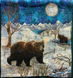 This quilt is made by Linda MacDonald  of Powell Wyoming, she also is the original designer.  The bears are thread painted and it was done for a batik challenge.