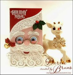 Santa card using @Spellbinders dies with JustRite Papercraft stamps Full project recipe on blog!