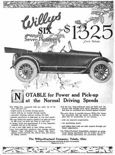 1918 Willys Automobile Advertisement