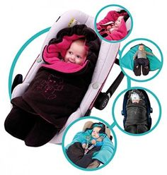 ByBoom® - Swaddling Wrap, Car Seat and Pram Blanket for Winter, Universal for infant and child car seats (e.g. Maxi-Cosi, Britax), for a pushchair/stroller, buggy or baby bed; THE ORIGINAL WITH THE BEAR, Color:Anthracite/Aqua