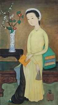 Seated Girl With a Book by Mai Trung Thu