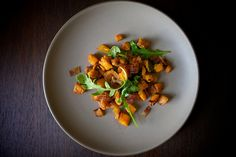 Brown Butter Roasted Sweet Potatoes with Arugula and Bacon by emilyc