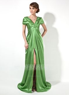 A-Line/Princess V-neck Court Train Charmeuse Evening Dress With Ruffle Split Front (017022522) - JJsHouse