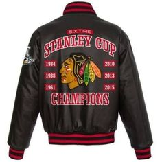 CHICAGO BLACKHAWKS 2015 6-TIME STANLEY CUP CHAMPIONS CUSTOM LEATHER JACKET
