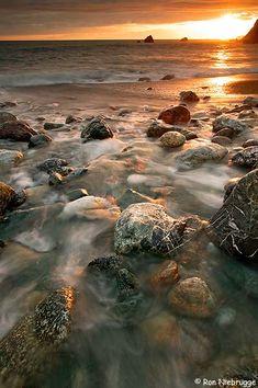 Sunset on beach at Limekiln State Park, California