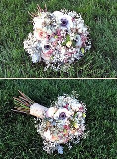 BridesBouquet with Baby's Breath, Queen Anne's Lace and raw Cotton